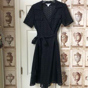 Diane von Furstenberg Black Eyelet Wrap Dress